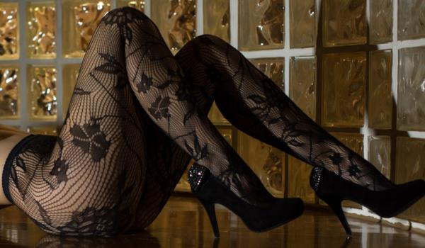 sexy black flower print pantyhose